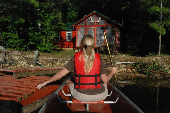 Spencer Pond Camps: Bemsis Cabin from the Canoe