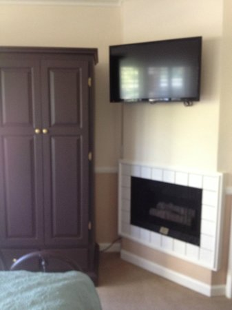 Apple Farm Inn : tv, closet and fireplace