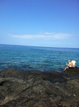 Honaunau Bay: two steps, easy to access the sea