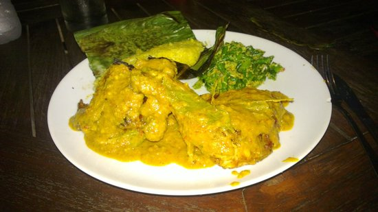 D'Waroeng: Ayam Kalasan-balinese chicken served with spicy red sauce & coconut milk, with grilled rice & ve
