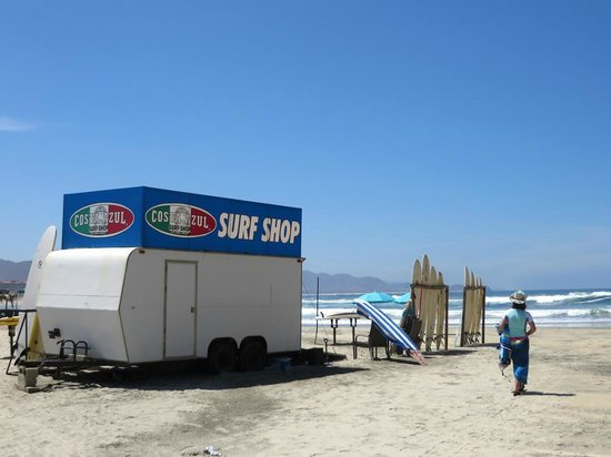 Villas de Cerritos Beach: Pop-up surf shop at the Cerritos Beach