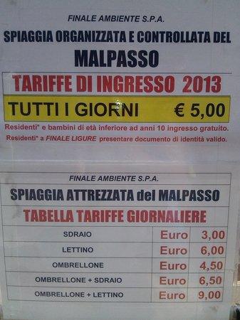 Varigotti, Italy: prezzi spiaggia