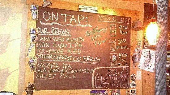 Ouray Brewery : Tap board on our visit in early August 2013