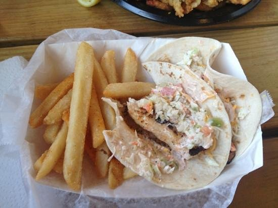 Stewby's Seafood Shanty: $7.99 fish tacos.