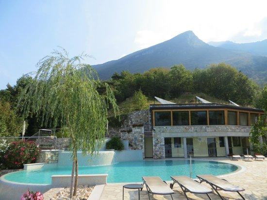 Locanda Montebaldo: Pool area with view up to Monte Baldo