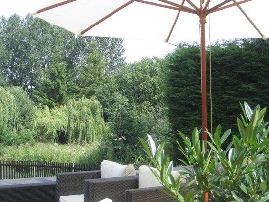 British Larder Suffolk: View from the shady British Larder terrace