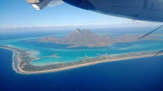 The St. Regis Bora Bora Resort: View of St Regis and Bora Bora from the plane