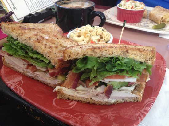 Gathering Grounds: Multi-grain bread with turkey, applewood bacon, apples, guacamole, lettuce, tomato and pepper ma