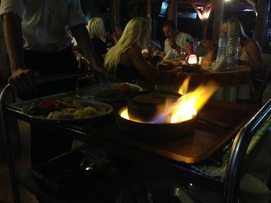 The Blue Star Restaurant: One of our delicious dishes being flamed