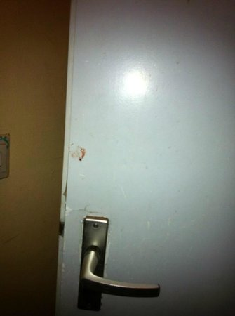 Hotel Alfa Amsterdam: Bloodstained finger print on door