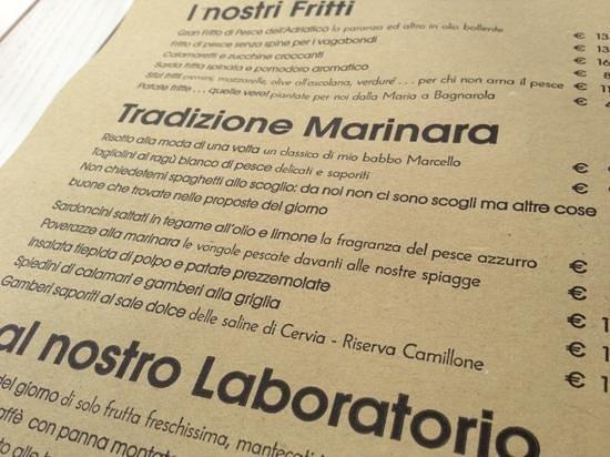 """Osteria del Gran Fritto: particolare del menù """"ironico""""!"""