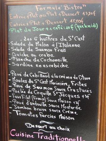 Le Bistro du Pot: Menu June 2013