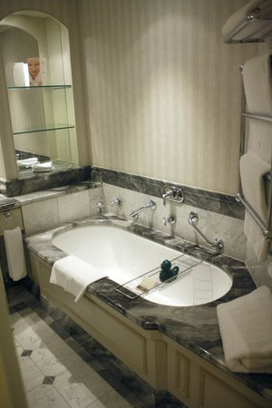 Hotel Kamp: The marble bathroom features bath salts and a rubber duckie.