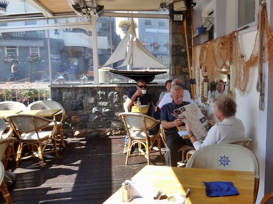 The Boathouse: Sheltered terrace seating