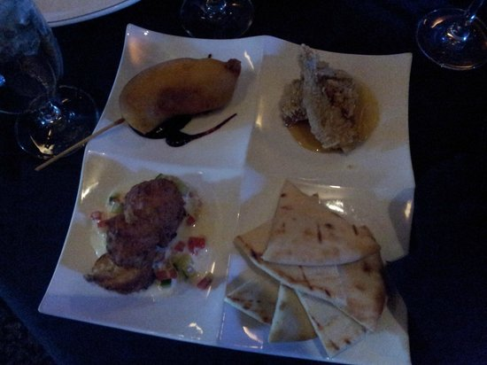 Craftwood Inn: Tapas - wild game corn dog, smoked trout fritter, buttermilk fried quail, and flatbread.