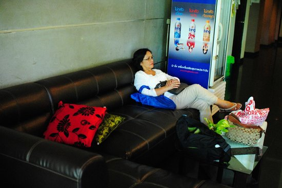 Take a Nap Hotel: my mom waiting @ the lobby while we hail a cab outside the hostel
