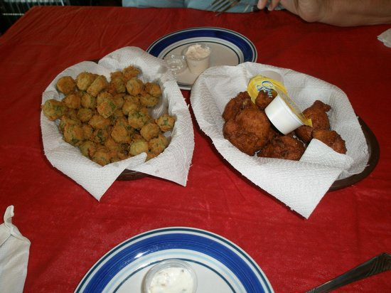 Luvan's Fish Camp: Fried Okra and Hush Puppies