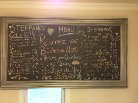 Steffanos: Le menu