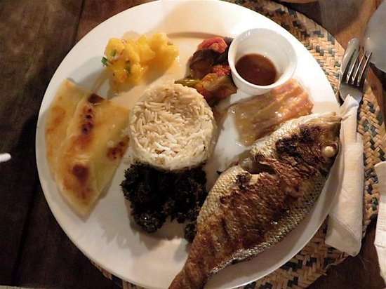 Monsoon Restaurant: grilled snapper with traditional accompaniments