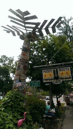 Muddy Boots Cafe: Palm tree made of license plates outside the cafe! so neat!!