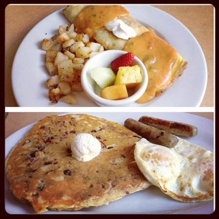 First Watch: carrot cake pancake, and chorizo omelet