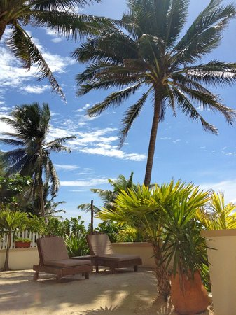 The Palms Oceanfront Suites: Patio area