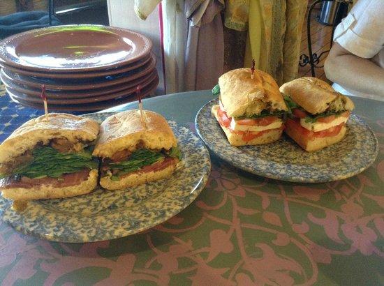 Tissa's Le Souk du Maroc: Roasted Duck Sandwich (left) and Mozzerella and Tomato Sandwich (right)
