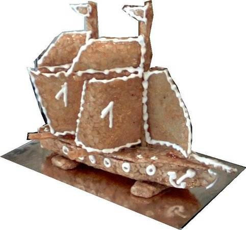 Boulangerie Patisserie bucamp : navire 2 mâts en nougatine, décor personnalisé pâtisserie Bucamp