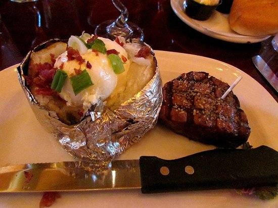The Montana Club Restaurant - Butte: Loaded baked potato and filet mignon!