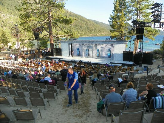 Lake Tahoe Shakespeare Festival: volunteer helping someone find a seat