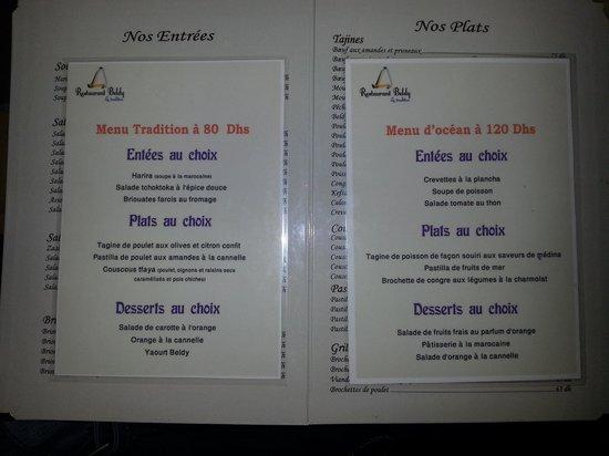 Beldy Restaurant : menus