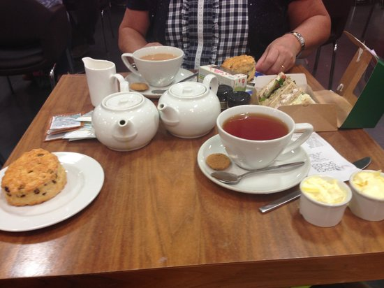 Newry, UK: Afternoon tea for two, sandwiches, two fruit scones,jam and clotted cream and mini strawberry ta