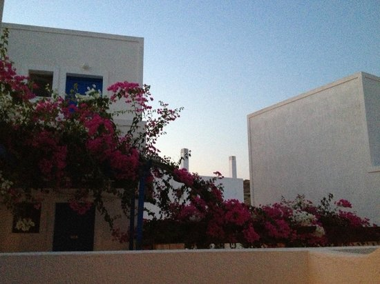 Glaronisia Hotel: View from our little balcony, love the bougainvilleas
