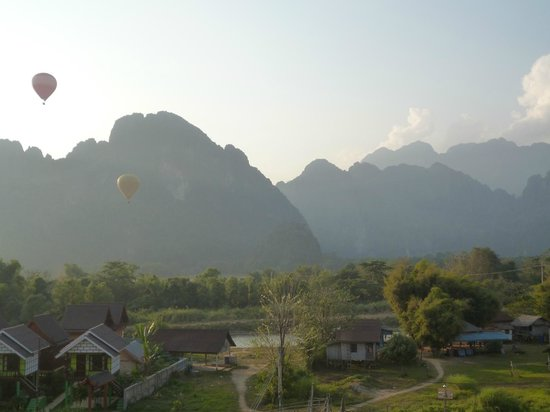 Vang Vieng Orchid Guesthouse: View from our balcony at rear of hotel - 2nd floor