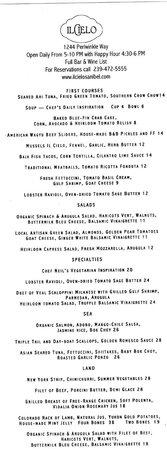 Il Cielo: Summer menu