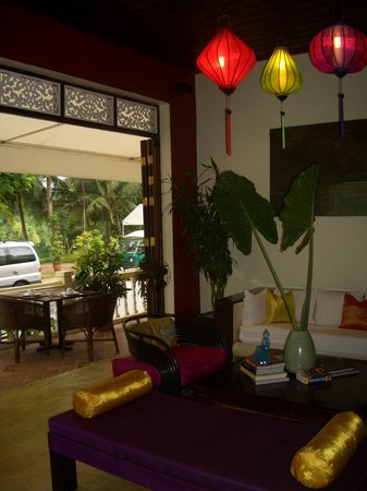 The Apsara : Looking out through the lounge/bar to the terrace tables