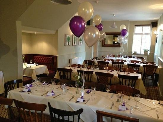 Anglers Arms: wedding set up in the restaurant