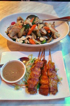 Thai Gardens: Chicken satay skewers and strifried chicken with ginger
