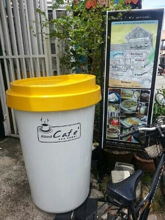 About Cafe' Koh Samui : giant coffee cup out front!