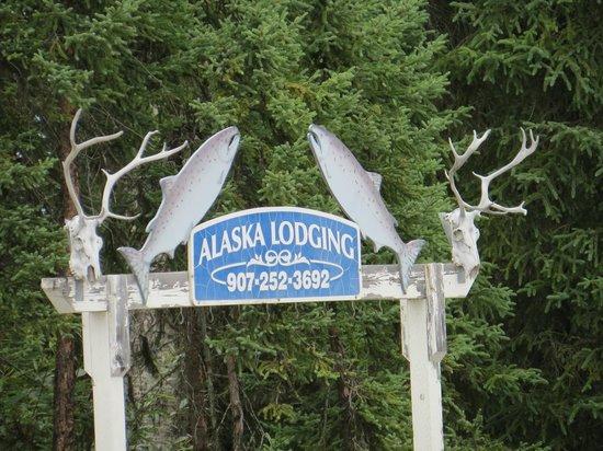 Alaska Lodging & Adventures : Alaska Lodging sign great for fishing and hunting