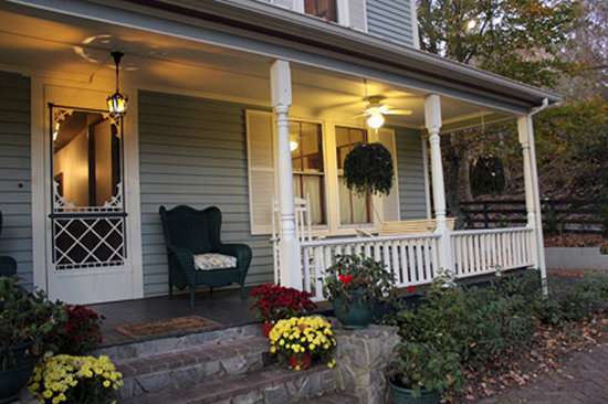 Twin Maples Farmhouse: Front porch in the fall