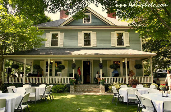 Twin Maples Farmhouse: Twin Maples set up for an outdoor wedding