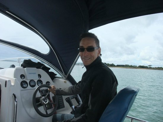 Cafe Cruises: My husband at the helm