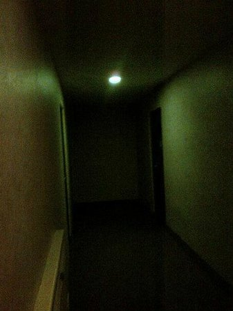 Days Inn and Conference Centre Timmins : Hallway outside my room.  Mine is on at the end on left.  Stairwell for drunkards is to the righ