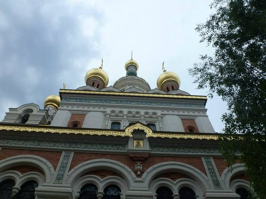 Russian Orthodox Cathedral of St. Nicholas: The facade.