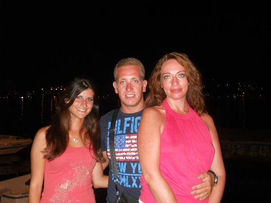 Caffe del Mare: with manager of restaurant, Boris  and Elena , nice girl, who works there ( on the left )