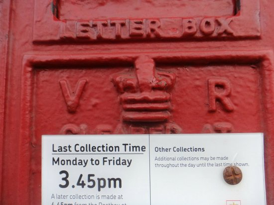 The Old Post Office: detail on the post box