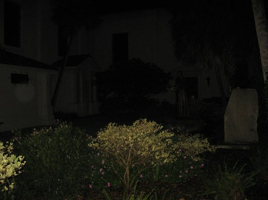 "GhoSt Augustine: Large ""orb"" left side - downtown church courtyard"