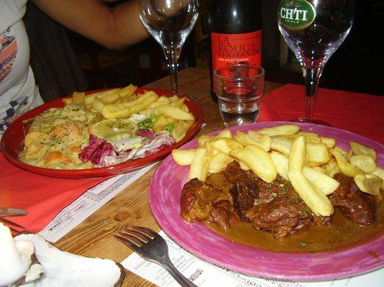 le T'Rijsel : Saumon et viande, bière Rouge Flamant