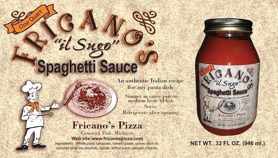 Fricano's Pizza Restaurant: Spaghetti sauce label for jar